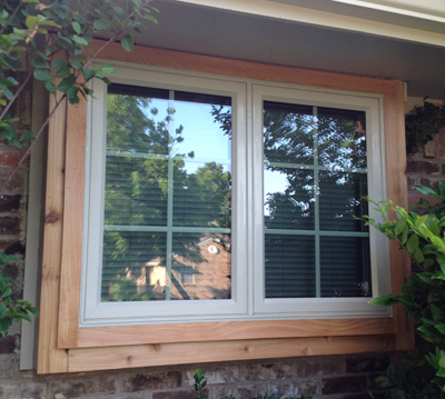 Twin vinyl casement replacement windows in Arlington Texas