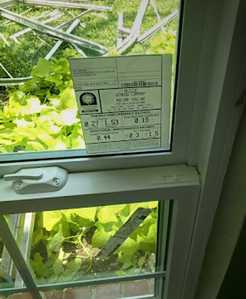 Mezzo Vinyl Replacement Windows Performance Data Sticker with SHGC and U Value