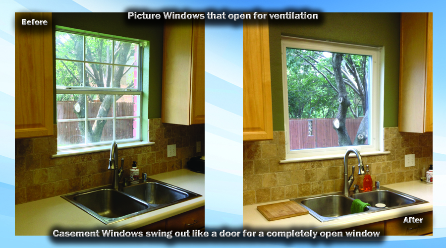 Single Hung windows go up and down but casements that swing or venting windows that slide are also great options for windows in the kitchen