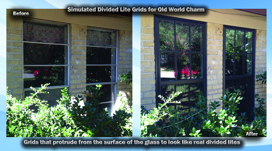 Simulated Divided Lite Grids protrude from the surface of the insulated glass unit on the inside and the outside.
