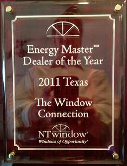 NT Window names The Window Connection as Dealer of the Year for their high quality installations in Plano Texas