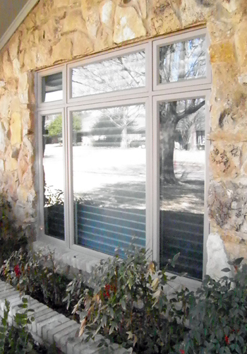 Grey Three Lite Casement Window with transomes